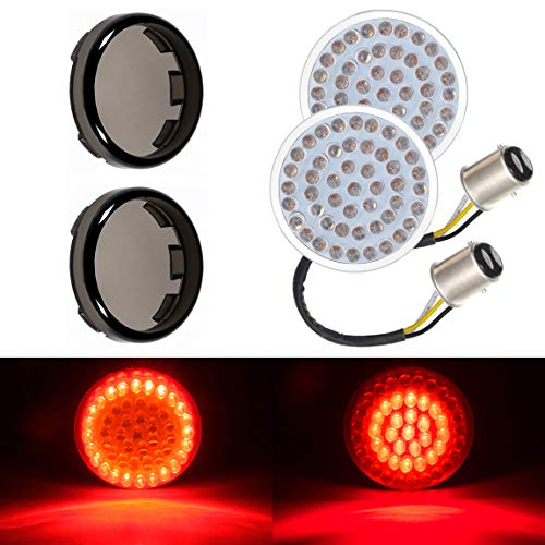 Lalaparts Bullet Style Red LED Turn Signal Brake Tail Light 1157 with Smoke Lens Cover Compatible for Harley Touring Dyna Softail Sportster Street Road Electra Glide