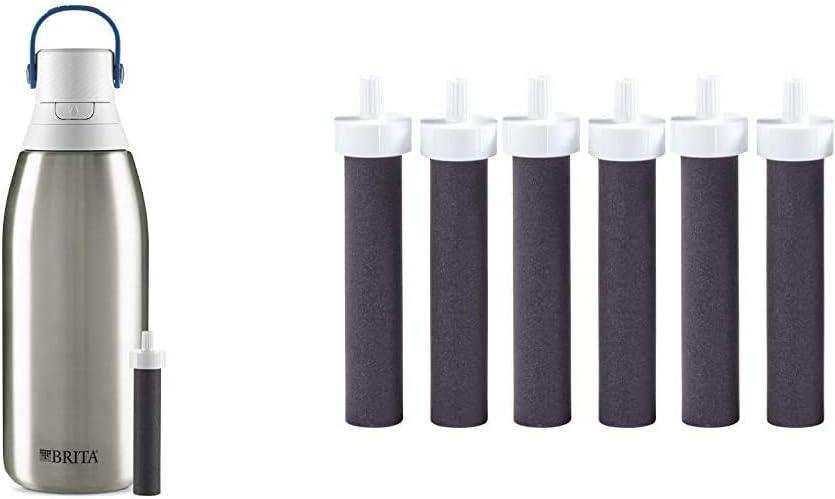 Brita Water Filter Bottles, 32 oz, Stainless Steel & Water Bottle Filter Replacements, 6ct