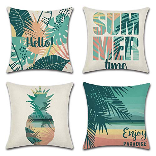 Gysan Summer Beach Theme Decoration Throw Pillow Case Home Deco Cotton Linen Cushion Cases for Sofa Bed Couch Set of 4 (Hello Summer, 18