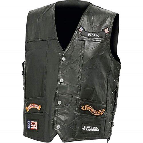 Mens Diamond Plate Italian Stone Design Genuine Buffalo Leather LED Vest