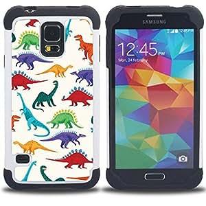 - dinosaur pattern white saurus kids - - Doble capa caja de la armadura Defender FOR Samsung Galaxy S5 I9600 G9009 G9008V RetroCandy