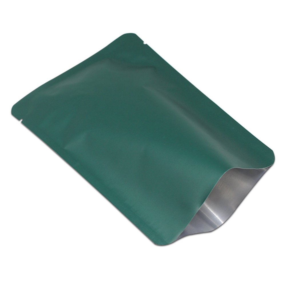 Matt Colorful Open Top Mylar Foil Food Storage Metallic Round Angle Bag Heat Sealer Vacuum Pack Aluminum Foil Package Pouches Retail For Coffee Beans 10 x 15 cm(3.9 x 5.9 inch) (100, Dark green)