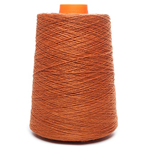 (Linen Yarn Cone - 100% Flax Linen - 1 LBS - Brownish Orange - 3 PLY - Sewing Weaving Crochet Embroidering - 3.000 yards)
