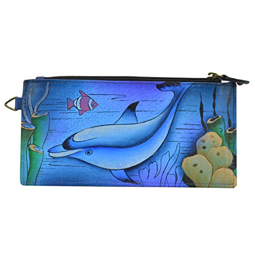 Anna by Anuschka Women's Genuine Leather Organizer Wallet | Hand Painted Original Artwork | Five Credit Card Holders, Drivers License | Playful Dolphin