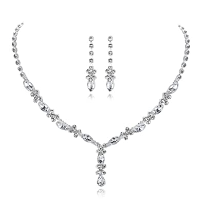UDORA Rhinestones Necklace Earrings Jewelry Sets for Wedding Bridal Party  (t1214) 827c026b169e