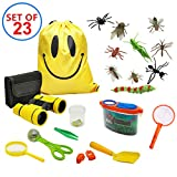 VN STORE Outdoor Exploration Kit for Kids - Nature Exploration Toys 23 Pack Kids Adventurer Gift Set with Binoculars, Magnifying Glass, Whistle,Drawstring Bag, Butterfly Net, Bug Collector, Shovel , Plastic Insects