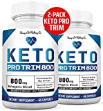 Keto Pro Trim 800 Advanced BHB Ketogenic Supplement Exogenous Ketones Ketosis for Men Women 120 Capsules 2 Bottles