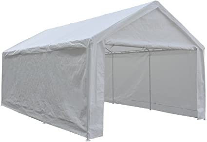 Amazon Com Abba Patio Extra Large Heavy Duty Carport With Removable Sidewalls Portable Garage Car Canopy Boat Shelter Tent For Party Wedding Garden Storage Shed 8 Legs 12 X 20 Feet White