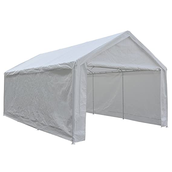 Abba Patio 12 x 20-Feet Heavy Duty Carport, portátil Garaje Coche toldo Refugio con Paredes Laterales extraíble, Color Blanco: Amazon.es: Jardín