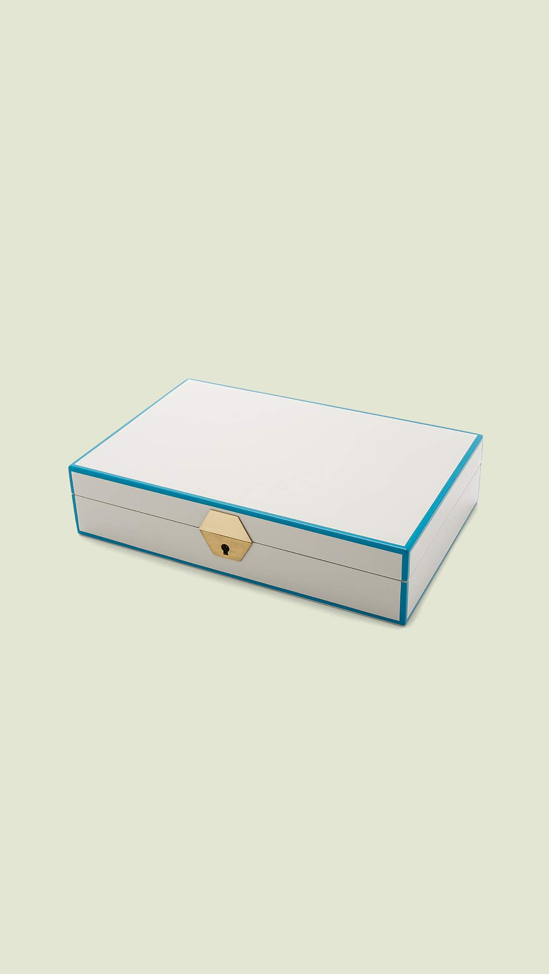 Jonathan Adler Lacquer Jewelry Box, White/Blue/Green by Jonathan Adler (Image #3)