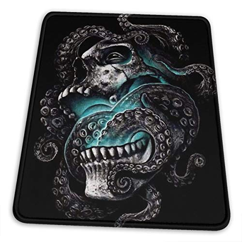 Cthulhu Skull with Tentacles Gaming Mouse Pad Customized with Stitched Edge Non-Slip Rubber Base Mousepad Mouse Mat for Laptop Computer PC 12 x 10 inch -