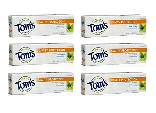 Tom's of Maine Anticavity Toothpaste, Spearmint, 5.5 Ounce (Pack of 6)