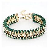Fariishta Jewelry Diamond Accented Alloy Hand Braided Bracelet