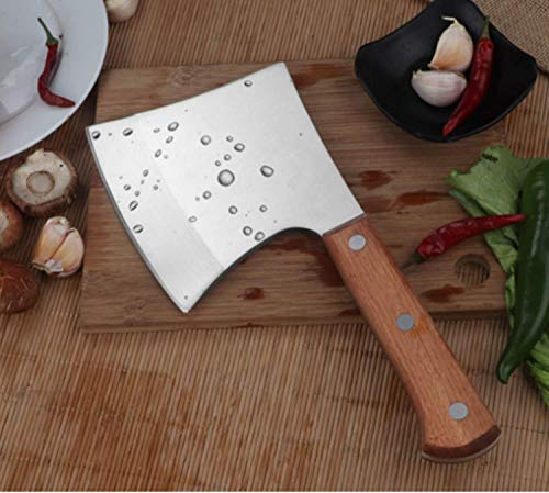 (Cleaver Knife, Cinlinso Meat Cleaver Heavy Duty Stainless Steel Bone Chopping Knife Cleaver Chinese Style Chef Bone Knife Butcher Knife with Solid Wood Handle, Multipurpose Use for Home Kitchen Restau)
