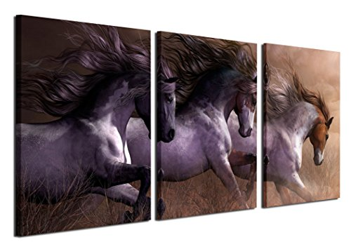 Girl Canvas Wall Art Personalized (Gardenia Art - Animal Canvas Prints White Horses Wall Art Paintings Running Horse Pictures Artworks for Bedroom Living Room Decoration,16x24 inch/piece, Unframed, 3 Panels)