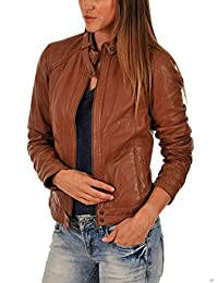 Womens Leather Jackets Motorcycle Bomber Biker Brown Real Leather Jacket Women