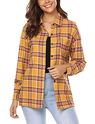URRU Women's Casual Tartan Long Sleeve Boyfriend Button Down Plaid Flannel Shirt Tops S-XXL
