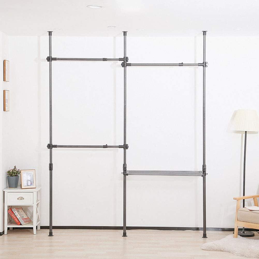 Telescópica ropa de DIY Rack, 3 polos 3 Bares 1 Cesta para trabajo pesado estante de la ropa de altura ajustable 2.75-3.2M corte libre fácil de instalar, por barra de apoyo 60Kg,Metálico: