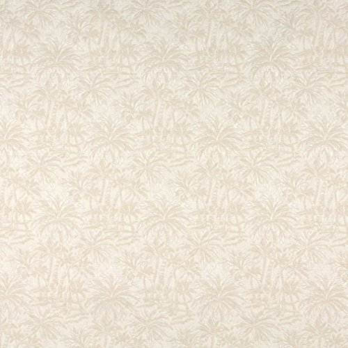 A070 Beige and Off White Tropical Overlapping Palm Trees Upholstery Fabric by The Yard