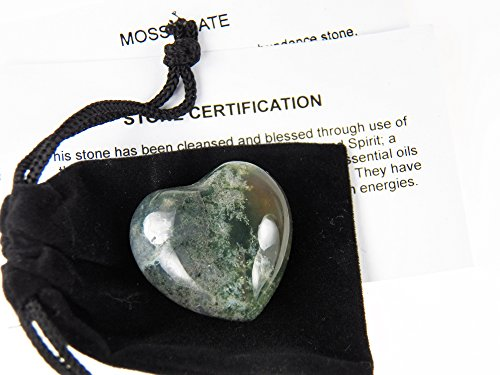 Fundamental Rockhound Products: Moss Agate Pocket Heart gemstone crystal with carrying pouch, info card, stone certification, tumbled stone ()