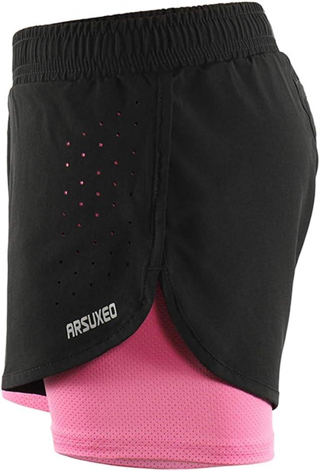 Micosuza Short de Course 2 en 1 pour Femme S/échage Rapide Fitness Fitness Fitness Yoga Pantalon