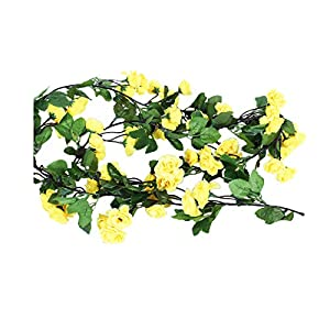 Li Hua Cat Rose Garland Artificial Rose Vine with Green Leaves 63 Inch Pack of 3 Flower Garland For Home Wedding Decoration (yellow) 9