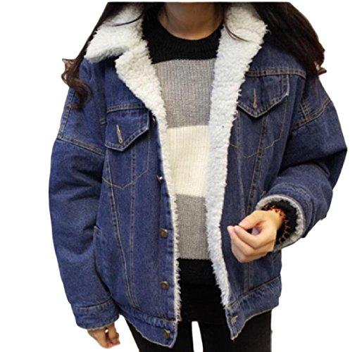 Riempito Rivestimento Donne Cappotto Blu Atree Sherpa Scuro Il Ispessite Outwear Caldo qg4nOxxYZw