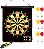 Magnetic Dartboard Set 17 inch Double Sided Roll-up Wall Hanging Dart Board with 6 Safety Magnetic Darts Indoo