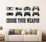 Large Vinyl Wall Decal Gaming Quote Joysticks Video Game Stickers Large Decor (ig4500) Black