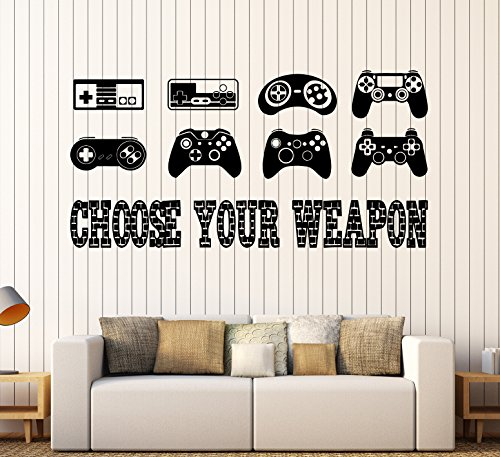 Large Vinyl Wall Decal Gaming Quote Joysticks Video Game Stickers Large Decor (ig4500) Matte Black ()