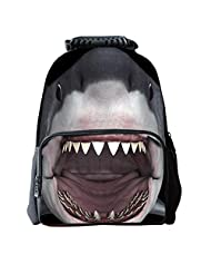 3D Shark Comfortably Flag Youth Backpack Travel Bags Student Backpack School Bag , gray
