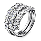 Neoglory Jewelry Clear Rhinestone Platinum Plated Fashion Stack Ring Size 8