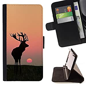 Moon Sunset Summer Antlers Hunting Deer - Painting Art Smile Face Style Design PU Leather Flip Stand Case Cover FOR Apple Iphone 4 / 4S @ The Smurfs