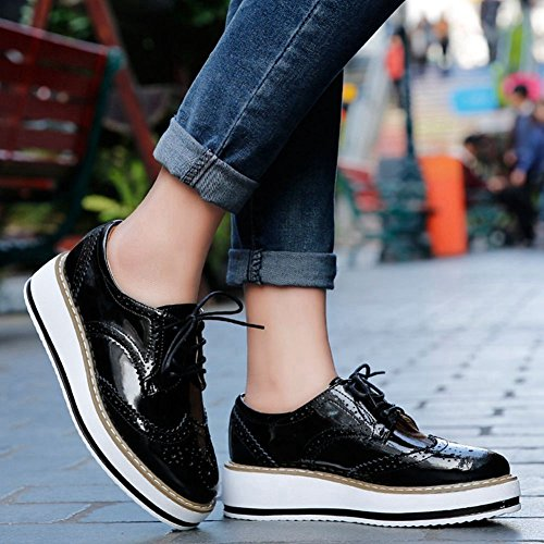Casual Bianco Stringate Sneakers Jrenok City Shoes antiscivolo Rosso Stringhe Nero Donna Pelle Beige Derby Moda YH78Hq