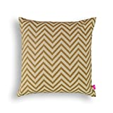 Beige Chevron print pillow cover 100% cotton print in back & front Reversible cushion standard size 16X16 inches other sizes available (20X20, Beige)