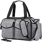 NiceEbag Baby Diaper Bag With Insulated Pockets / Baby Diaper Tote Bag / Multi-functional Baby Accessories Shoulder Bag Include Changing Pad (Large Size, Grey)