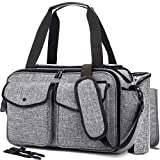 NiceEbag Baby Diaper Bag With Insulated Pockets/Baby Diaper Tote Bag/Multi-functional Baby Accessories Shoulder Bag Include Changing Pad (Large Size, Grey)