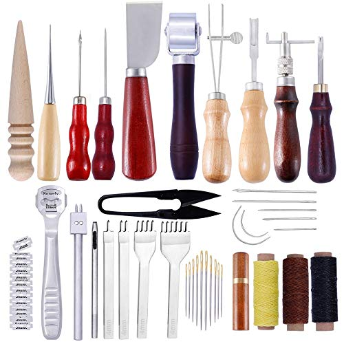 Leather Kit - 1set Professonal Hanmae Sewng Leather Craft Tools Punch Sttchng Carvng Workng Accessores - by Arislux