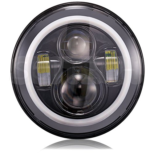 Jeep Wrangler Headlights 7 Inch Round LED Headlight Conversion Kit DLR Light Assembly For JK TJ FJ Hummer Trucks Motorcycle Headlamp - Super Bright LEDs lights - H4 to H13 Adapter by SuiTech