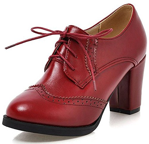 Summerwhisper Women's Trendy Round Toe Brogue Oxfords Shoes Block High Heel Lace-up Ankle Boots Red 7.5 B(M) US