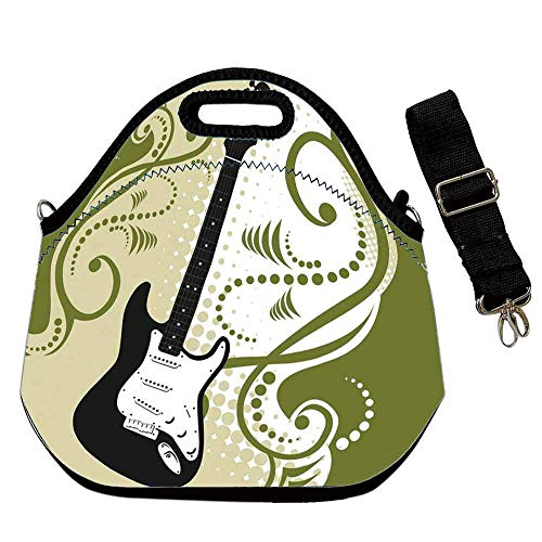 Music Custom Neoprene Lunch Bag,Electric Bass Guitar Figure with Swirls Background Artful Illustration for Lunch Trip Travel Work,With Shoulder Straps(12.6''L x 6.3''W x 12.6''H) ()
