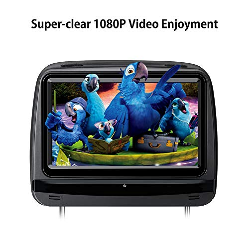 XTRONS 2x9 Inch Pair Touch Screen Car Auto Headrest DVD Player Game 1080P Video Built-in HDMI Port Headphones Included (Black) by XTRONS (Image #3)