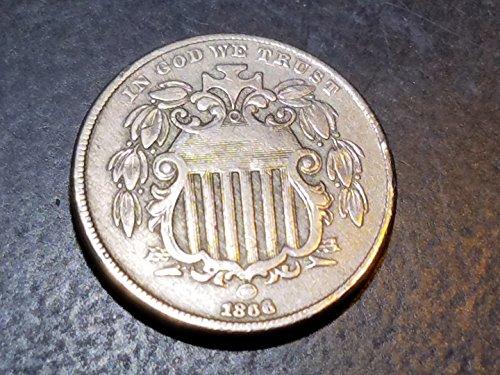 1866 Shield Nickel 5c VF+ 5c Shield