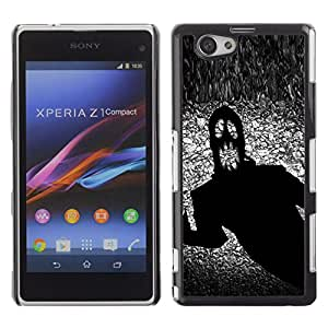 Qstar Arte & diseño plástico duro Fundas Cover Cubre Hard Case Cover para Sony Xperia Z1 Compact / Z1 Mini / D5503 ( Monster Ghost Halloween Black Scary Terror Ink)