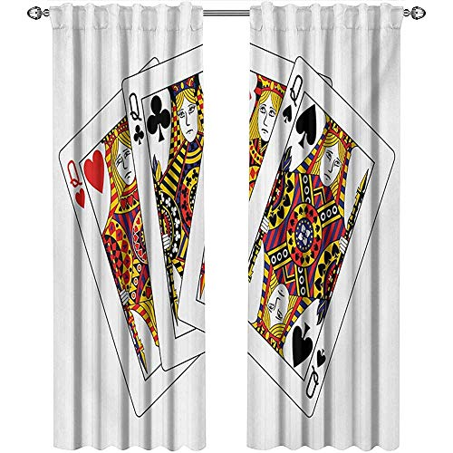 - shenglv Queen, Curtains Valance, Queens Poker Set Faces Hearts and Spades Gambling Theme Symbols Playing Cards, Curtains for Living Room, W72 x L84 Inch, Black Red Yellow