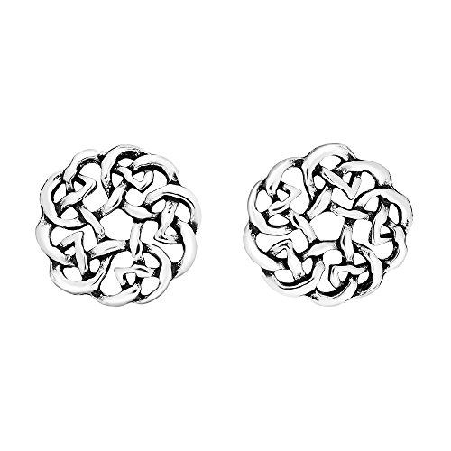 Earrings Celtic Shiny - Continuity Celtic Knot Donut .925 Sterling Silver Stud Earrings