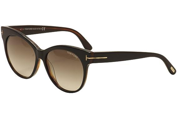 fb3256b6cae9 Amazon.com  Tom Ford Cateye Sunglasses TF330 Saskia 03B Black Havana ...