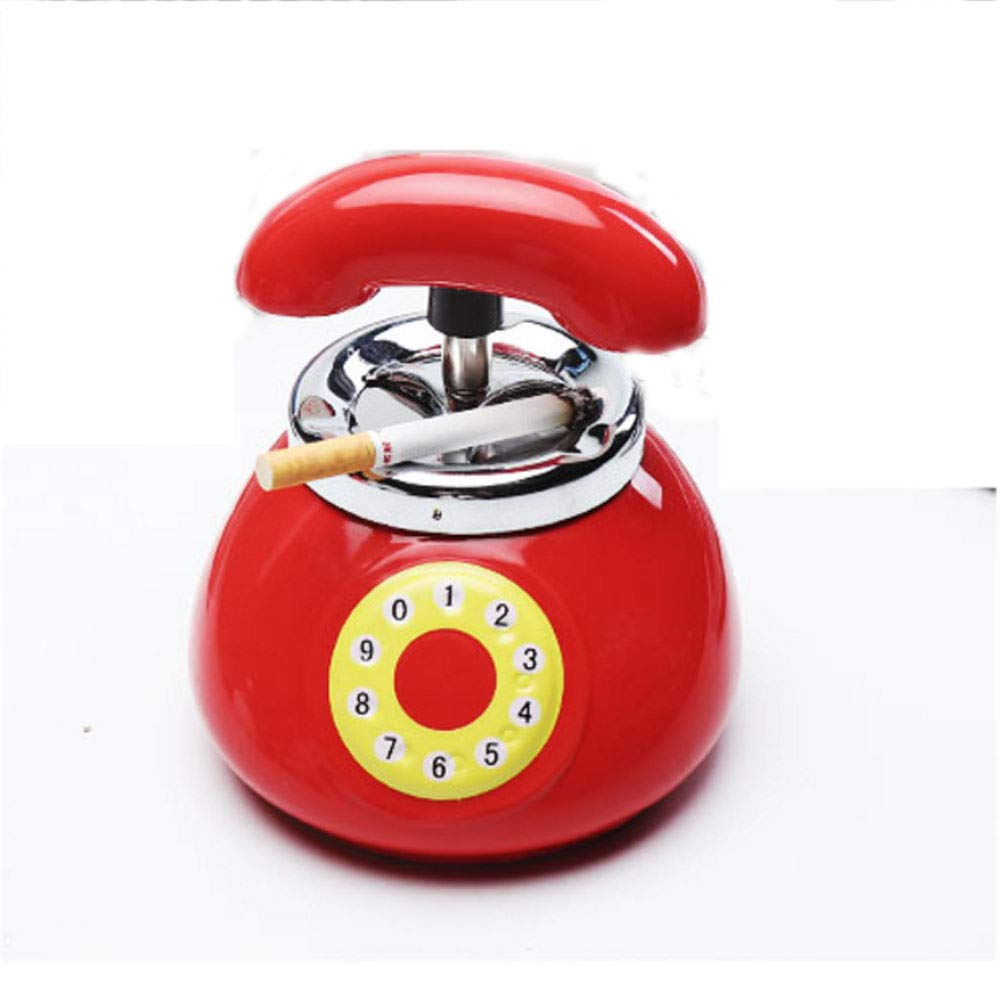 YXZN Tel/éfono Cenicero con Tapa Grande Lindo Ceniceros Cer/ámica Sala De Estar Decoraciones Dormitorio,Red,13X12.5CM