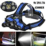 45000 LM 9X XM-L T6 LED Rechargeable Headlamp Headlight Travel Head Torch Better Gift