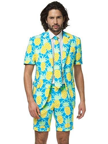 OppoSuits Men's Summer Suit - Shineapple - Includes Shorts, Short-Sleeved Jacket & Tie -